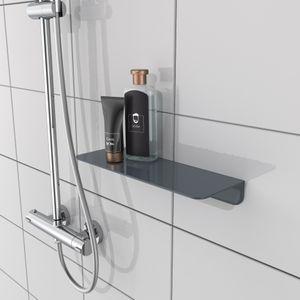 Duschablage Duschregal ohne Bohren (Kleber  Germany,) Badregal für Badablage, Ablage für die Dusche mit selbstklebendem Klebepad, Bad Regal für Badezimmer in Anthrazit