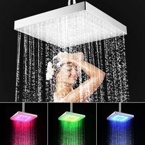 20cm Regendusche Duschkopf Brausekopf Eckig Kopfbrausen Regenbrause mit LED