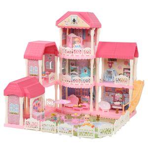 4 Etagen Puppenhaus Puppenvilla Spielhaus Barbiehaus Dollhouse+Möbel+Puppe Geschenk Spielzeug 11 Zimmer