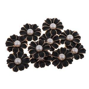 10 Stück Perle Strass Blume Button 32x32x5mm schwarz + perle