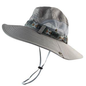 UPF 50+ Bucket Hat Sommer-Männer Boonie Hat UV-Schutz Lang Wide Brim Sonnenhut -(Grau,)