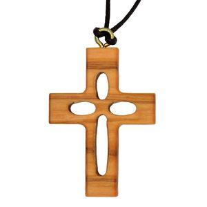 Umhängekreuz Durchbrochenes Kreuz - Olivenholz Anhänger am Band 3,8cm