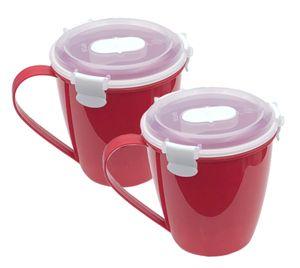 2er Pack Suppenbecher für die Mikrowelle, 2x 650ml, spülmaschinenfest, BPA-Frei, auch gefriergeeignet, auslausicher