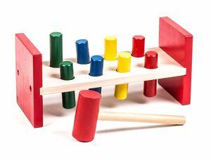 Klopfbank aus Holz, 8 Stifte, Hammer, trainiert Motorik und Farberkennung Maße ca. 23 x 9 10,5 cm
