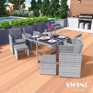Poly Rattan Sitzgruppe Esstisch Lounge Gartenmöbel Sitzgarnitur 9-Teilig Garten-Garnitur Set 1x Tisch + 4x Stühle + 4x Hocker - grau