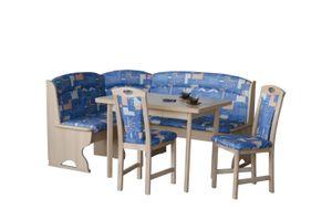 Eckbankgruppe Buche teilmassiv blau gemustert buche natur lackiert, blau gemustert