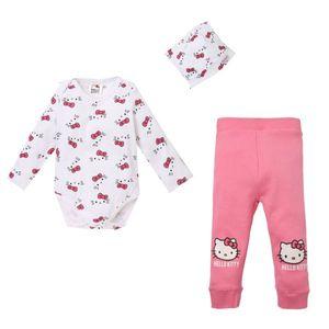 Hello Kitty Set: Body, Leggings und Mützchen, weiß-pink, Gr. 62-92 Größe - 92