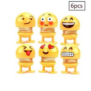 6 Stücke Nette Emoji Wackelkopf Puppen, lustige Smiley Springs Tanzen Spielzeug für Auto Armaturenbrett Ornamente,Party Favors, Geschenke, Hauptdekorationen