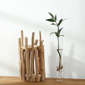 Landhausstil Glasvase Dekovase Blumenvase Minivase Tischvase mit Ständer Dekoration