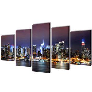 vidaXL Bilder Dekoration Set New York in Farbe 100 x 50 cm
