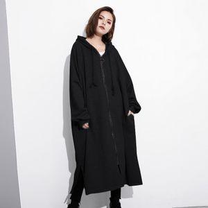 Zanzea Damen Pullover Mäntel mit Kapuze Lange Tops Mäntel Softshellmantel Farbe: Schwarz, Größe: XXXL