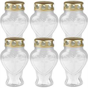 Grablicht Glas in Herzform (Weiß), 6er Pack Grabkerze mit ca. 30h Brenndauer