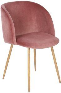 H.J WeDoo 1er Set Vintager Retro Stuhl Polstersessel Samt Lounge Sessel Clubsessel Fernsehsessel Rosa