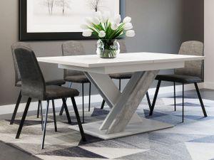 Mirjan24 Esstisch Bronx, Stilvoll Ausziehbar Esszimmertisch, Design Tisch, Esszimmer (Farbe: Weiß / Beton)