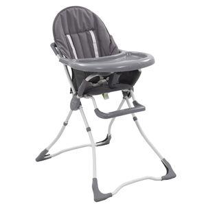 Huicheng Baby Hochstuhl Klappbar bis 15 kg mit Sicherheitsgurt und Esstisch, Grau und Weiß