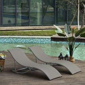 Outsunny 2er Set Gartenliegen Sonnenliege Stoffliege Relaxliege ergonomisch Aluminium Texteline Hellgrau 165 x 61 x 63 cm