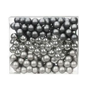 Spiegelbeeren Glas 2cm, 144 Stück, Farbe:Hazy Grey - grau
