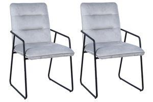 Möbilia Armlehnstuhl 2er Set | Bezug Samt | Kufen-Gestell Stahl matt | B 52 x T 66 x H 88 cm | hellgrau-schwarz | 17020002 | Serie STUHL