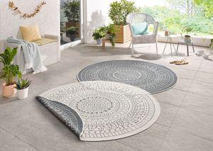 In- & Outdoor Design Wendeteppich Teppich Wintergarten 140 cm rund Porto Grau Creme OD-8