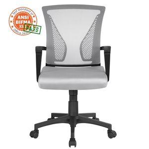 Yaheetech Bürostuhl Schreibtischstuhl ergonomischer Drehstuhl Chefsessel höhenverstellbar Sportsitz Mesh Netz Stuhl  Grau
