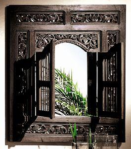 SIT Möbel Wand-Spiegel mit 2 Flügeltüren | Akazie massiv antikfinish | B 80 x T 5 x H 90 cm | 09091-30 | Serie SAMBA