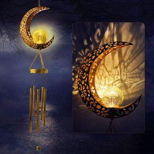 2 in 1 LED Solar Gartenlampe Windspiel, Hängende Dekoration Mond Wind Glockenspiel Lampe, Metall LED Deko-Solarleuchte, Atmosphärenlicht