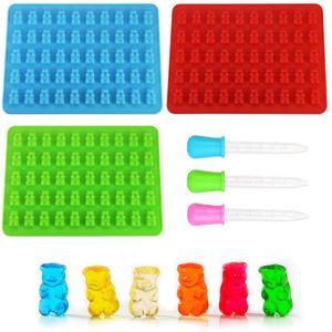 Pralinenförmchen,3 Stück Süßigkeit Form Silikon Gummibärchenformen Silikonformen mit Pipetten(Blau, Rot, Grün)
