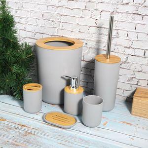6-tlg Badset Badezimmer Zubehör Set WC Bürste Kosmetikeimer aus PP & Bambus Zahnputzbecher Bürst Mülleimer Halter