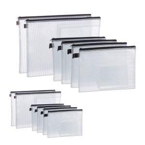 relaxdays 12 x Dokumententasche, PVC Tasche, Dokumentenmappe A4 und A5 Begleitpapiertasche