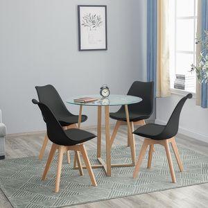 HJ WeDoo Esstisch Runde Esstisch mit 4 Stühlen schwarz+Esstisch 80x80x74.5cm,für 2 4 Personen