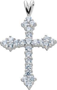 Kreuz Anhänger weißen Zirkonia Silber 925 Damenschmuck