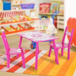 Kindersitzgruppe Kindertisch mit 2 Stühle Kindermöbel Esstisch Holz Maltisch