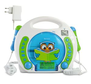 X4-TECH Bobby Joey Lese Eule Kinder CD-Player mit Karaoke- und Hörbuchfunktion
