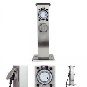 Grafner® Edelstahl Steckdosensäule mit Timer 2 Außensteckdosen Gartensteckdose Energiesäule