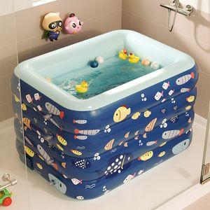 Aufblasbares Schwimmbad Kinder PVC Planschbecken Badewanne Gartenpool Drahtlos Automatisches Aufblasen 120cm Blau