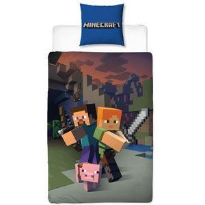 Minecraft Kinder Bettwäsche - Kissenbezug 80x80 + Bettbezug 135x200 cm - 100% Baumwolle