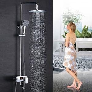 Überkopfbrause-Set -Thermostat Duschsystem |großflächige Überkopfbrause Design-Ablage |mit digitalem Bildschirm |höhenverstellbar