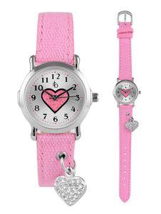 Crystal blue Armbanduhr für Mädchen mit Anhänger Herz Charme am Armband rosa