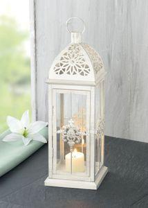 Metall-Laterne Barock, weiß, Teelichthalter, Kerzenständer, Deko-Laterne, Laterne