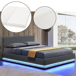 Juskys Polsterbett Toulouse 140x200 cm – Bett mit Matratze, Lattenrost, Kopfteil, LED & Stauraum – Modernes Bettgestell - Bezug aus Kunstleder in Grau