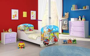 ACMA I Jugendbett Kinderbett Junior-Bett Komplett-Set mit Matratze Lattenrost Weiß 36 Feuerwehr 160x80