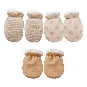 3 Paare Baby Fäustling Handschuhe Warme Babyhändchen Kratzhandschuhe Kratzfäustlinge Unisex Babyhandschuhe Baumwolle Fäustlinge für Neugeborene