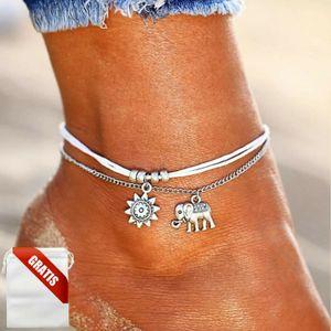 Fußkettchen Damen Silber Sonne Elefant Weiß Fußkette Fusskette Schmuck Geschenk