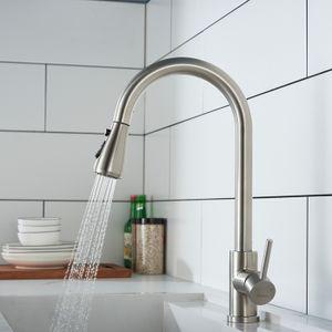 Wasserhahn Küche 360° Küchenarmatur mit Ausziehbarer Brause Spültischarmatur aus Edelstahl Mischbatterie Küche mit Dual-Spülbrause