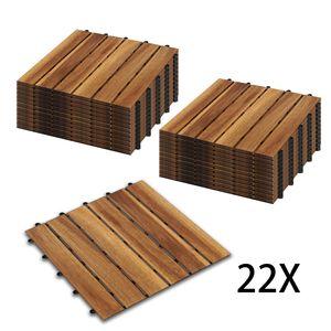 Hengda Holzfliesen 22-er Kachel Set ,2m2, geeignet als Terrassenfliesen und Balkonfliesen, aus Akazien Holz , 30x30 cm, fuer Garten Terrasse Balkon