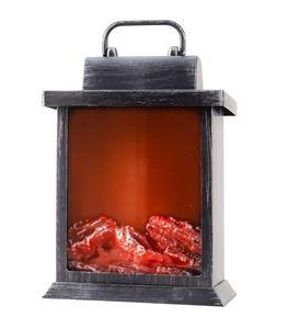 LED Kamin Laterne Flammeneffekt Kaminfeuer 15 x 22 x 14 cm Tischkamin