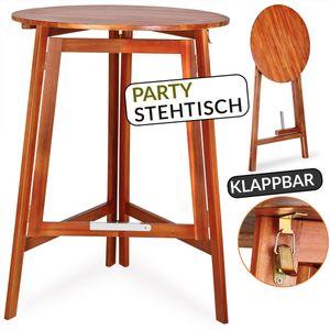 Deuba Stehtisch Bistrotisch Klappbar Akazie Holz Massiv Ø78 x 110cm Rund Gartentisch Klapptisch Bartisch Balkon