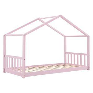 Juskys Kinderbett Paulina 90 x 200 cm mit Lattenrost und Dach - Bett für Kinder aus massivem Holz - Hausbett in Rose