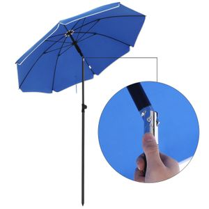 Sonnenschirm rund Ø160 cm knickbar aus Polyester UV-Schutz Sonnenschutz Gartenschirm ohne Ständer SONGMICS Blau GPU60BU