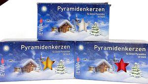 3 Packungen je 50 Pyramiden Kerzen WEISS / ROT / NATUR Fa. EWA / JEKA